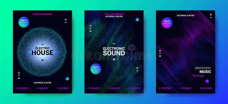 Elektronische Muziekaffiches met Correcte Omvang vector illustratie