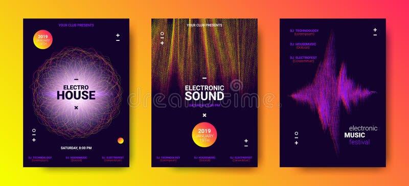 Elektronische Muziekaffiches met Correcte Omvang royalty-vrije illustratie