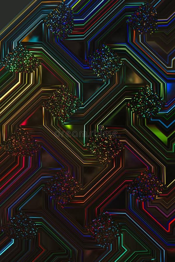 Elektronische Ontwerp Zwarte Lichte Fluorescente Veelkleurig vector illustratie