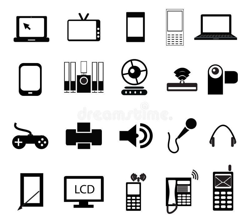 Elektronische pictogramreeks stock illustratie