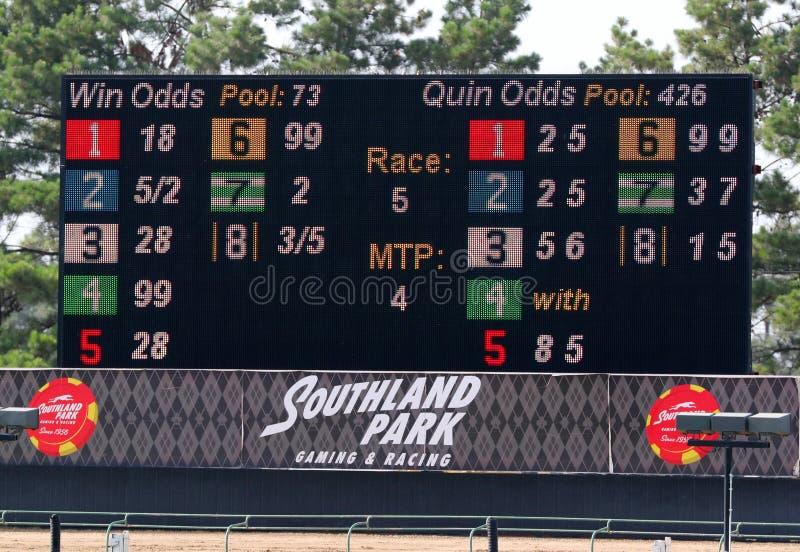 Elektronische Rennende Leider en Scoreraad bij Southland het Rennen en Gokken, het Westen Memphis Arkansas royalty-vrije stock foto's