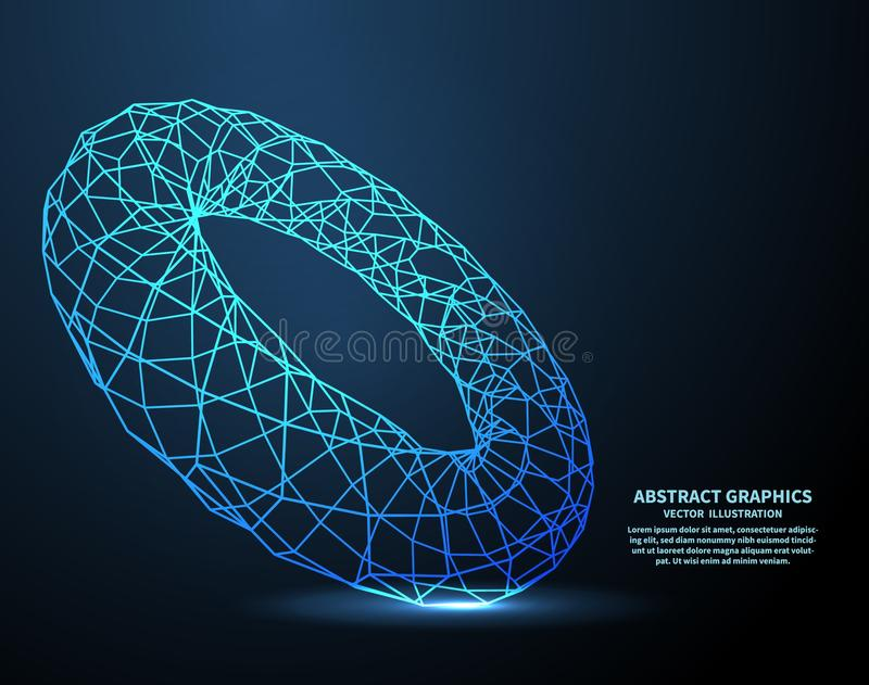 Elektronische ring, technologieachtergrond Netwerkverbindingen met punten en lijnen abstracte vectorillustratie vector illustratie