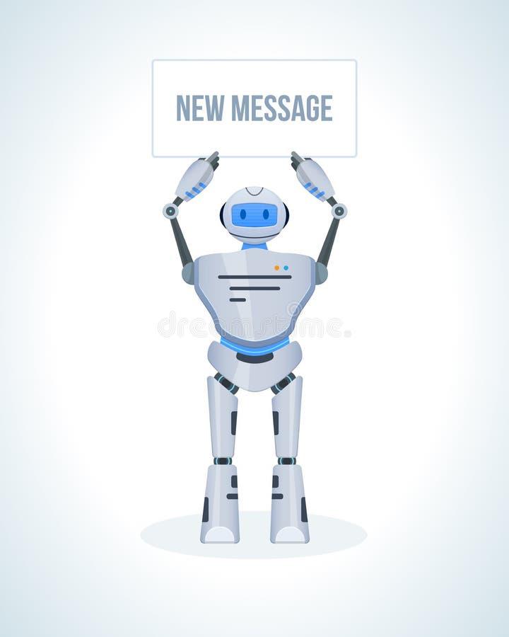 Elektronische robot, praatje bot, humanoid Technische ondersteuning, mededeling, sociaal voorzien van een netwerk vector illustratie