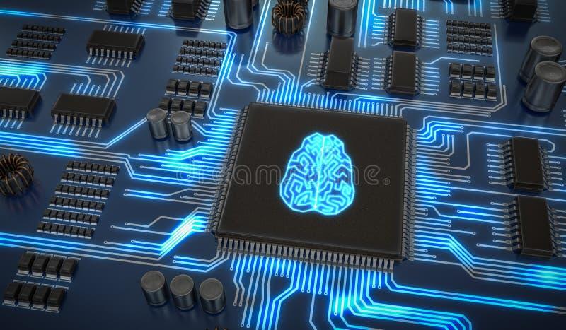 Elektronische Schaltung der künstlichen Intelligenz Mikrochip mit glühendem Gehirn 3D übertrug Abbildung stock abbildung