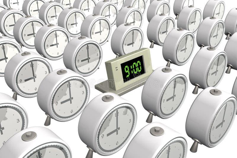 elektronische Stunden 3d nahe zu den alten Stunden vektor abbildung