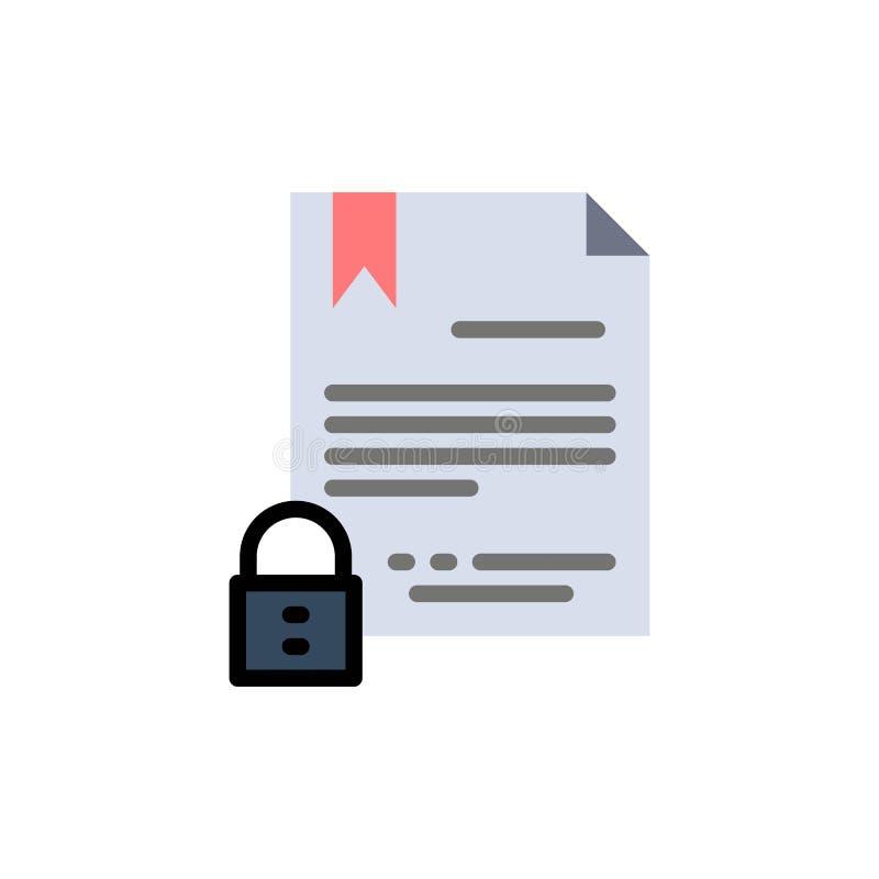 Elektronische Unterzeichnung, Vertrag, Digital, Dokument, Internet-flache Farbikone Vektorikonen-Fahne Schablone lizenzfreie abbildung