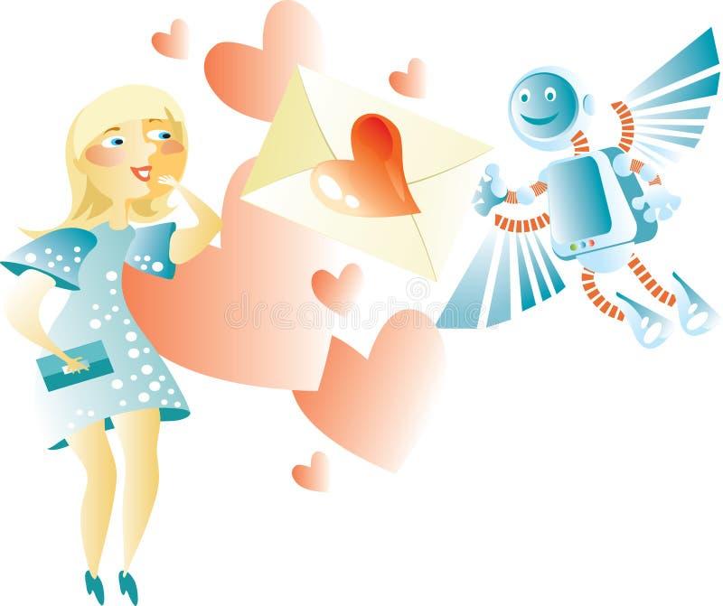 Elektronische valentijnskaartkaart vector illustratie