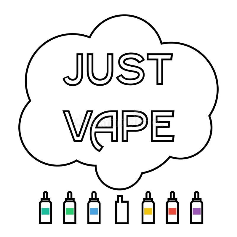 Elektronische Zigarette mit Flüssigkeit und vaping Wolke stock abbildung