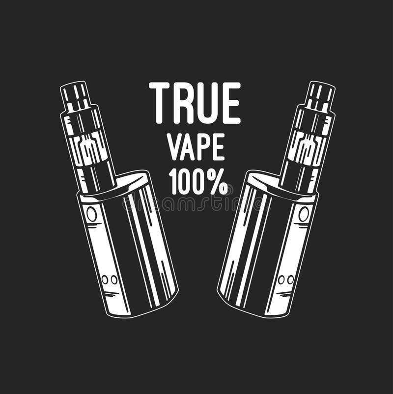 Elektronische Zigarette und Flüssigkeit, einfarbige Ausweise des Vape-Shop-Vektors, Embleme stock abbildung