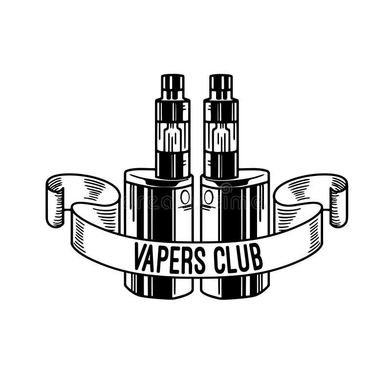 Elektronische Zigarette und Flüssigkeit, einfarbige Ausweise des Vape-Shop-Vektors, Embleme lizenzfreie abbildung