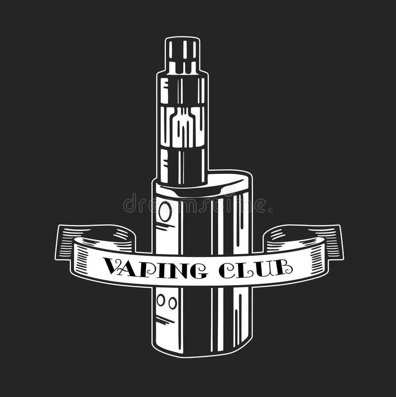 Elektronische Zigarette und Flüssigkeit, einfarbige Ausweise des Vape-Shop-Vektors, Embleme vektor abbildung