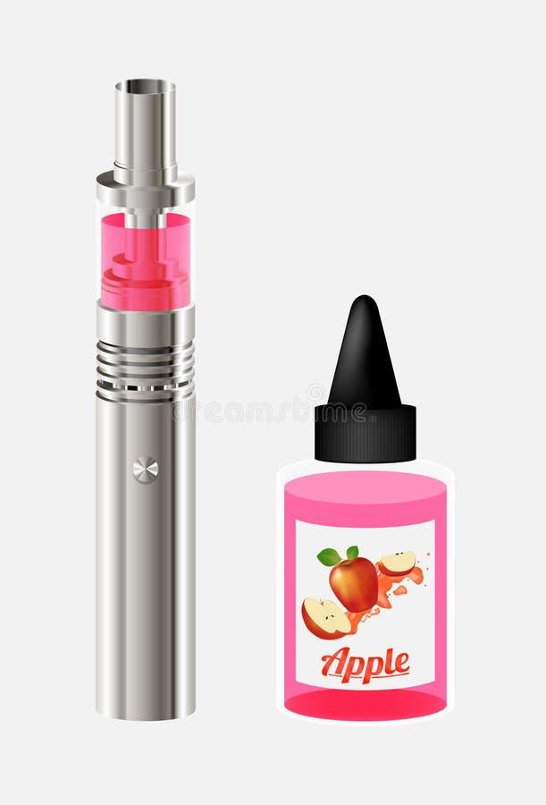 Elektronische Zigaretten- und Apfel Vape-Saftflüssigkeiten lizenzfreie abbildung