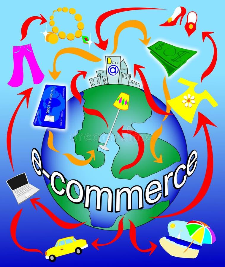 Elektronischer Geschäftsverkehr auf dem Planeten stock abbildung