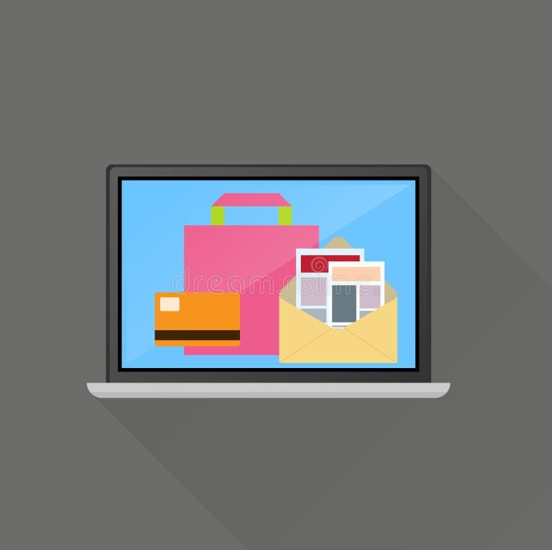 Elektronischer Geschäftsverkehr auf Linie Geschäftskonzept lizenzfreie abbildung