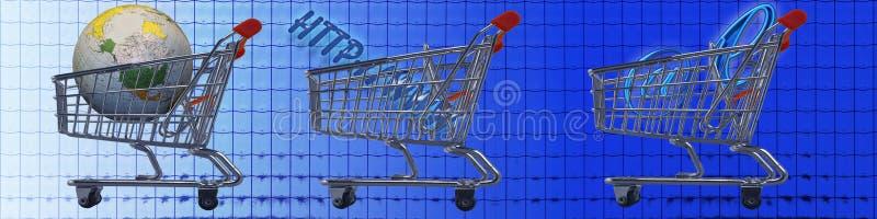Elektronischer Geschäftsverkehr der Einkaufenwagen WW lizenzfreie abbildung
