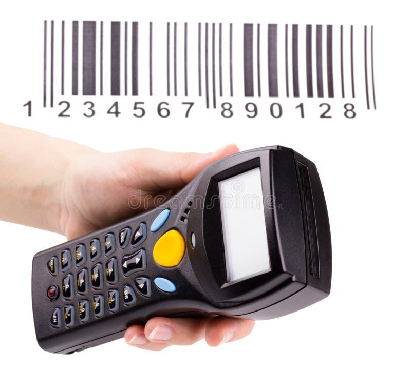 Elektronischer manueller Scanner der Strichkodes stockbild