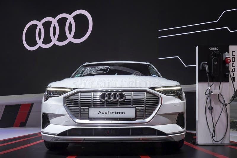 Elektronisches Fahrzeug Audis ETron GT für Sicherungsumweltkonzeptauto auf Anzeige in 40. Bangkok-Internationaler Automobilausste stockbild