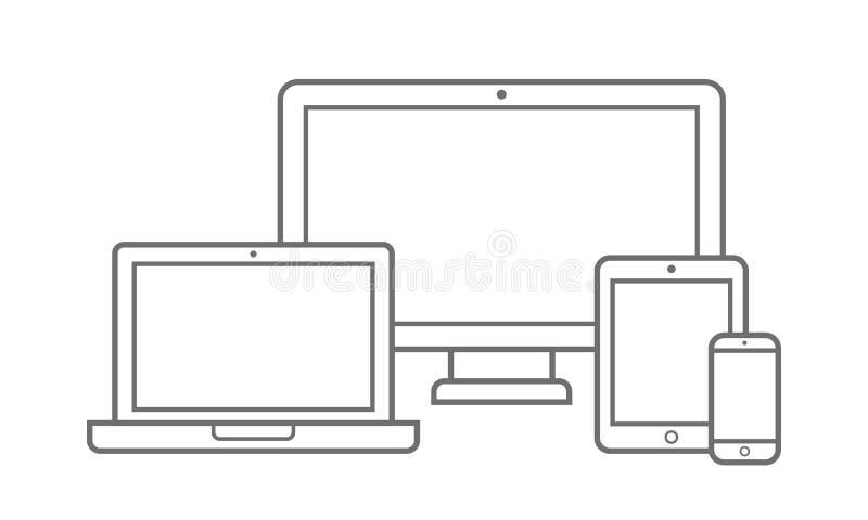 Elektronisches Gerät mit den verschiedenen Bildumfang-Ikonen eingestellt Vektor stock abbildung