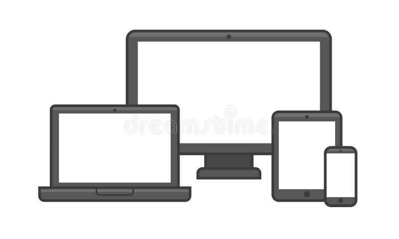 Elektronisches Gerät mit den verschiedenen Bildumfang-Ikonen eingestellt Vektor lizenzfreie abbildung