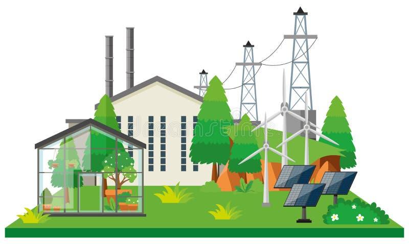 Elektronisches Kraftwerk und Stromleitungen stock abbildung