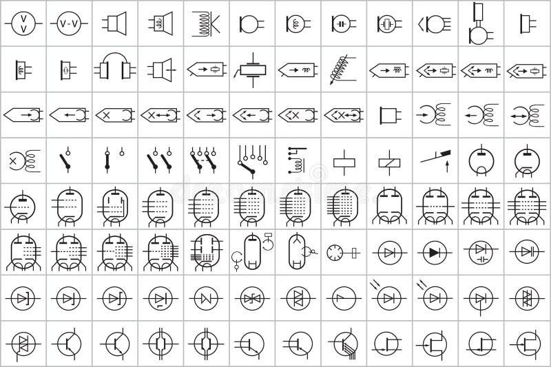 96 Elektronisches Und Elektrisches Symbol V 2 Stock Abbildung ...