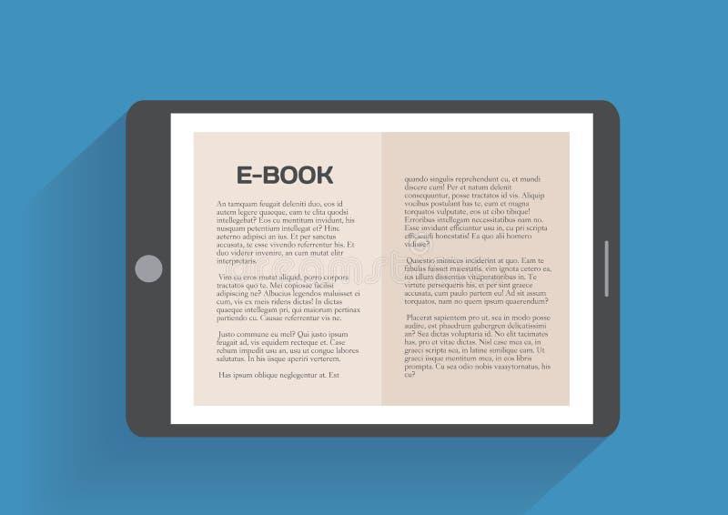 Elektronisk bok, plant designbegrepp royaltyfri illustrationer