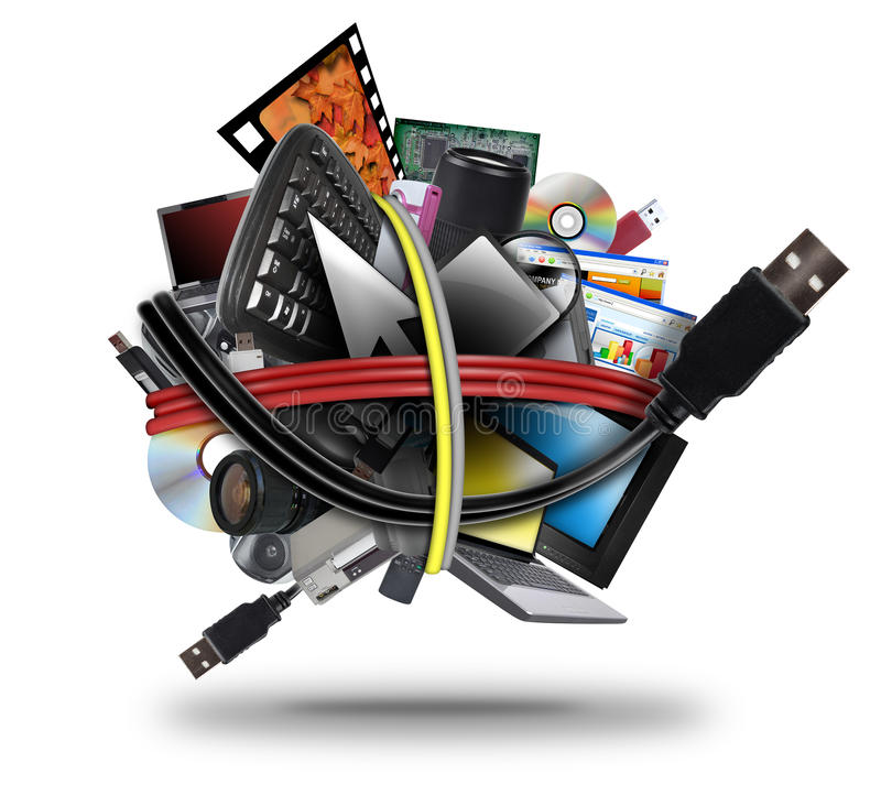 Elektronisk boll för teknologiUSB-kabel vektor illustrationer