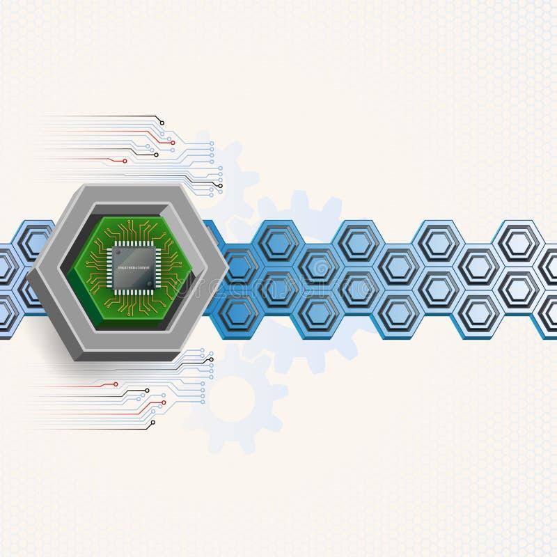 Elektronisk chip inom sexhörning för tre mått royaltyfri illustrationer