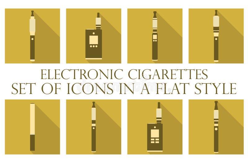 elektronisk cigarett Elektroniska cigarettlägenhetsymboler Skriver sprejflaskor royaltyfri illustrationer