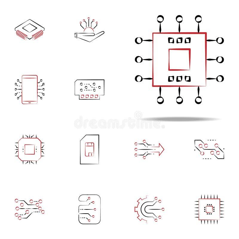 elektronisk del- symbol Universell uppsättning för elektroniksymboler för rengöringsduk och mobil vektor illustrationer