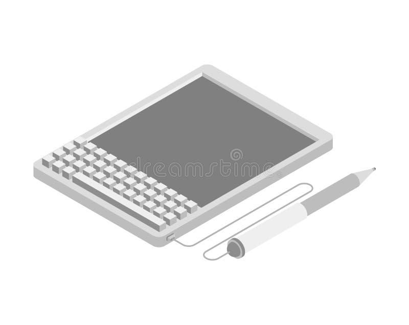 Elektronisk häfteminnestavla Stöttor av det elektroniska dokumentet Isome vektor illustrationer