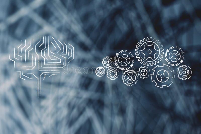 Elektronisk hjärna bredvid komplex kugghjulmekanism royaltyfri illustrationer