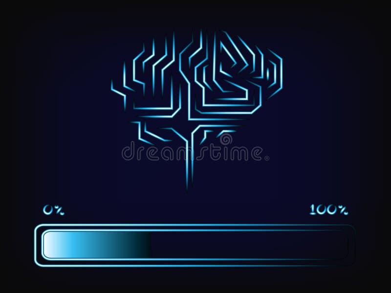 Elektronisk hjärna för vektor med framstegstångpäfyllning vektor illustrationer