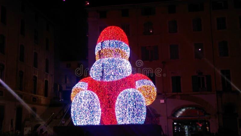 Elektronisk jultomten i Marseille arkivbilder