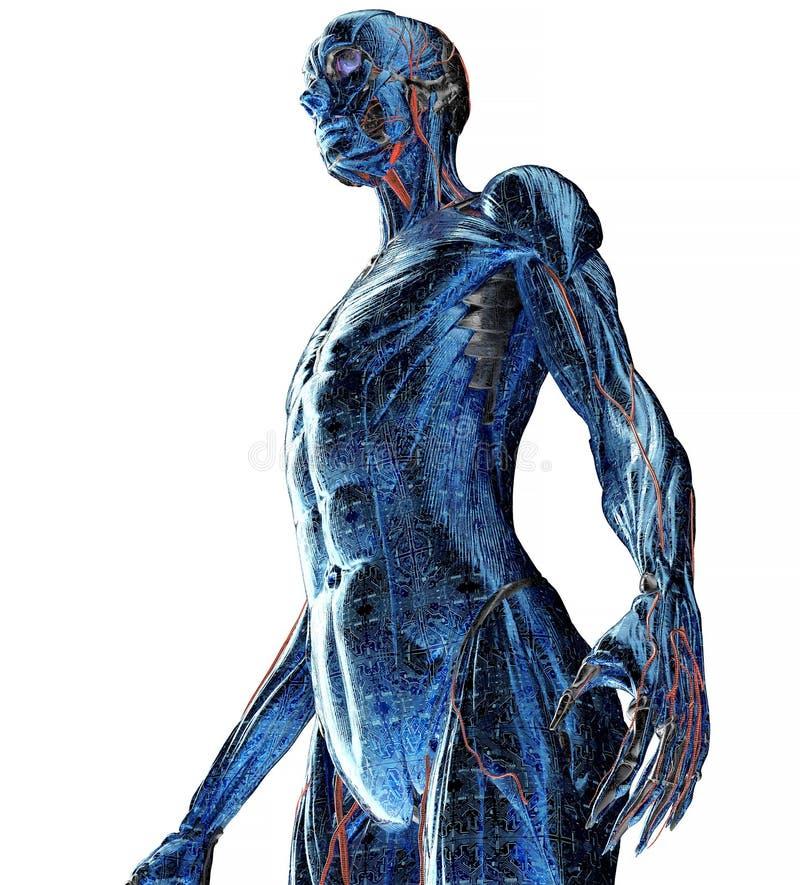 Elektronisk kvinna- eller kvinnligcyborg med binär bakgrund royaltyfri illustrationer