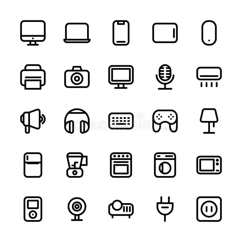 Elektronisk linje symbol stock illustrationer