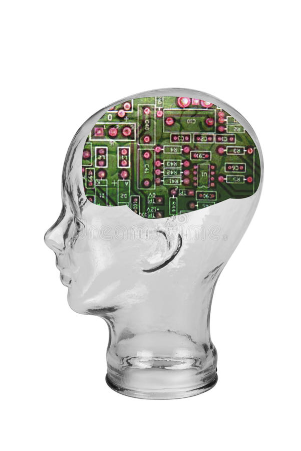 Elektronisk mänsklig hjärna arkivfoto