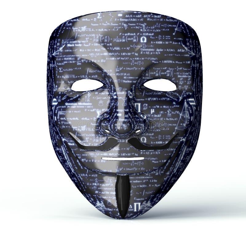 Elektronisk maskering av en datoren hacker royaltyfri illustrationer