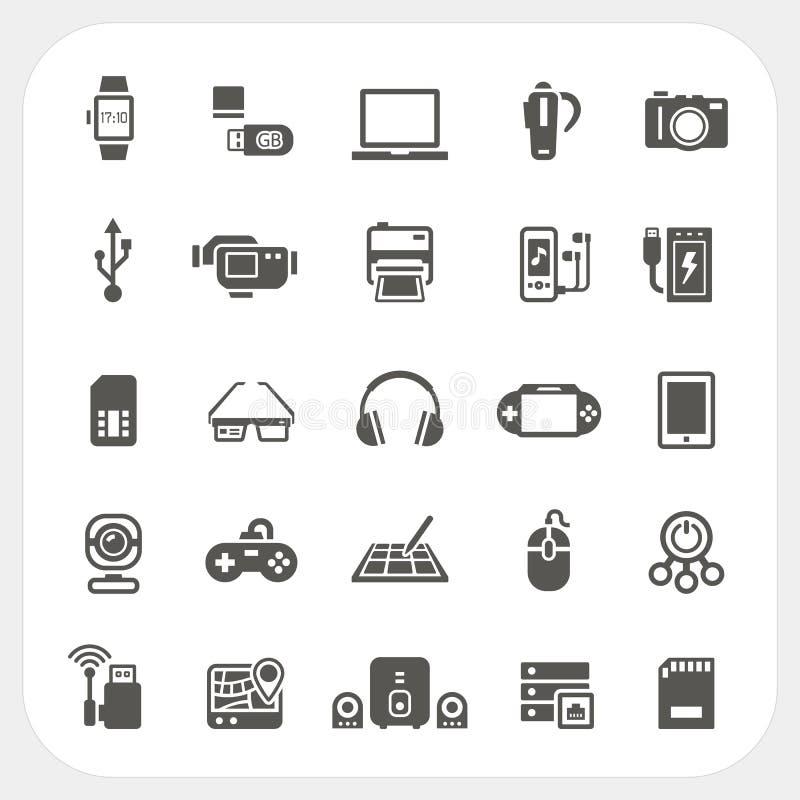 Elektronisk och grejsymbolsuppsättning stock illustrationer