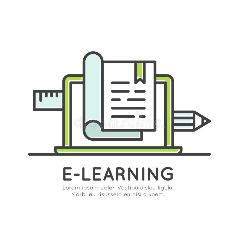 Elektronisk online-lärande avläggande av examengrad, information om avstånd, studiematerial, internetkunskap vektor illustrationer
