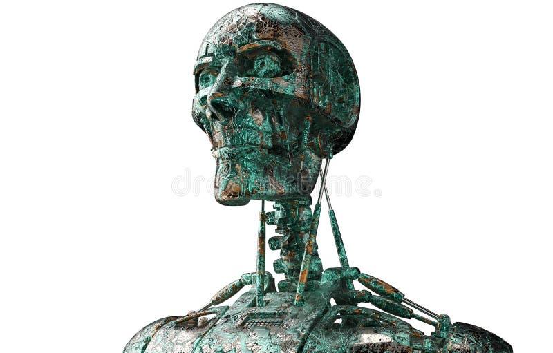 Elektronisk robot- eller mancyborg som isoleras på vit stock illustrationer
