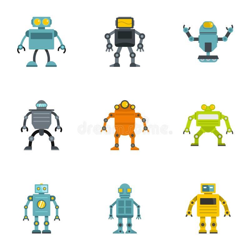 Elektronisk robotsymbolsuppsättning, lägenhetstil royaltyfri illustrationer