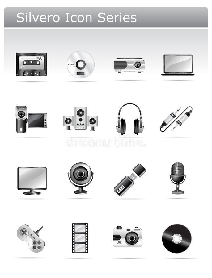 elektronisk silvero för symbolsmultimediaserie vektor illustrationer