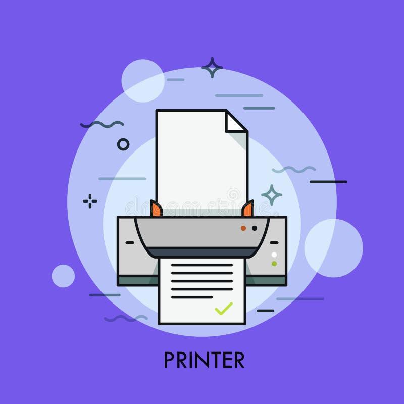 Elektronisk skrivare, maskinvaruapparat för pappers- dokument eller fotoreproduktion Begrepp av den digital, prickmatrisen och bl royaltyfri illustrationer