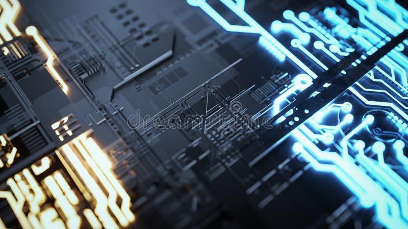 Elektronisk strömkrets med guld på svart bakgrund vektor illustrationer