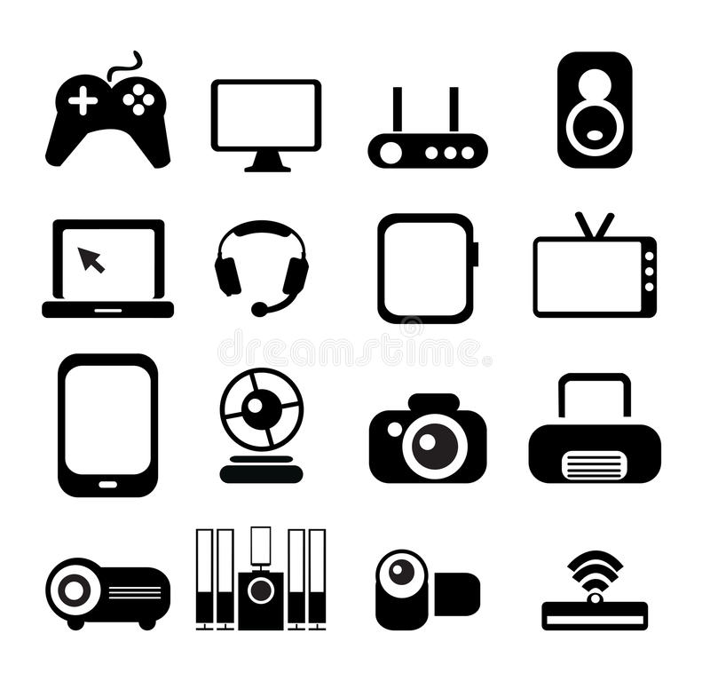 elektronisk symbolsset vektor illustrationer