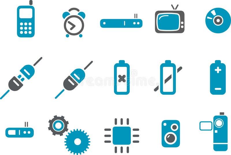 elektronisk symbolsset stock illustrationer