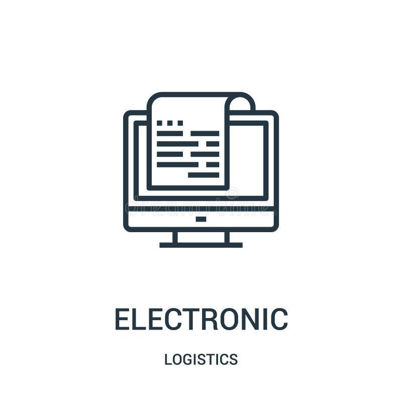 elektronisk symbolsvektor från logistiksamling Tunn linje elektronisk illustration för översiktssymbolsvektor Linjärt symbol för  royaltyfri illustrationer