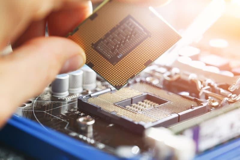 Elektronisk tekniker av datateknik Förbättring för maskinvara för underhållsdatorCPU av moderkortdelen PCreparation, teknik royaltyfria bilder