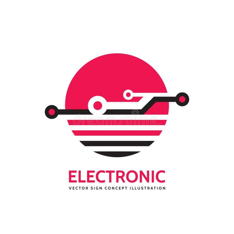 Elektronisk teknologi - mall för vektoraffärslogo för företags identitet Abstrakt chiptecken Globalt nätverk, internettech royaltyfri illustrationer